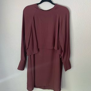 Who What Wear Long Sleeve Burgundy Dress